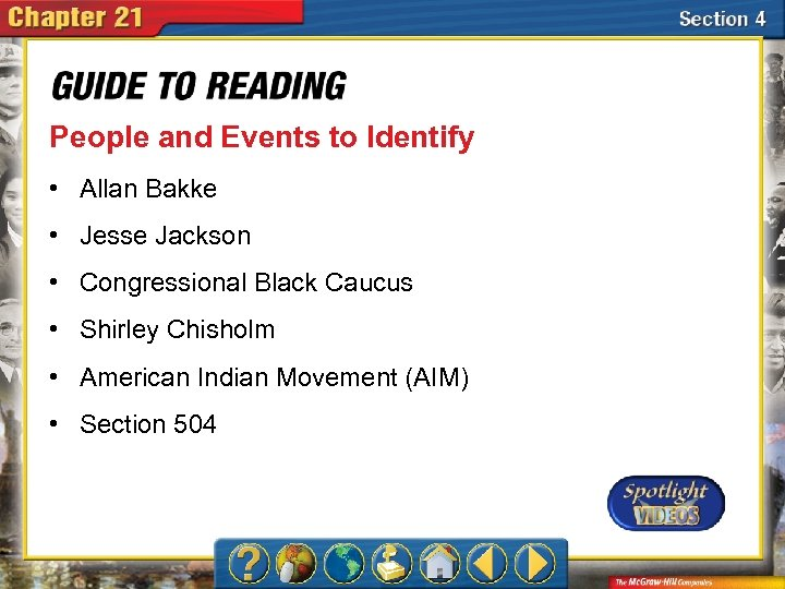 People and Events to Identify • Allan Bakke • Jesse Jackson • Congressional Black