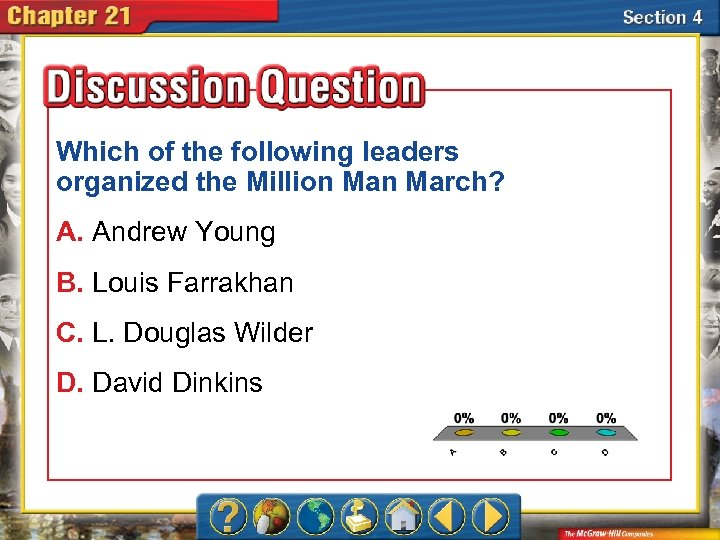 Which of the following leaders organized the Million March? A. Andrew Young B. Louis