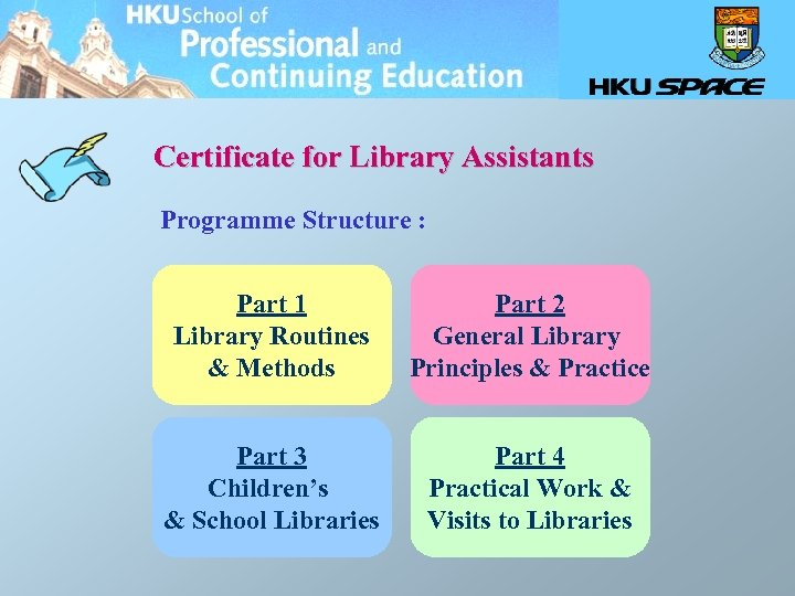 Certificate for Library Assistants Programme Structure : Part 1 Library Routines & Methods Part