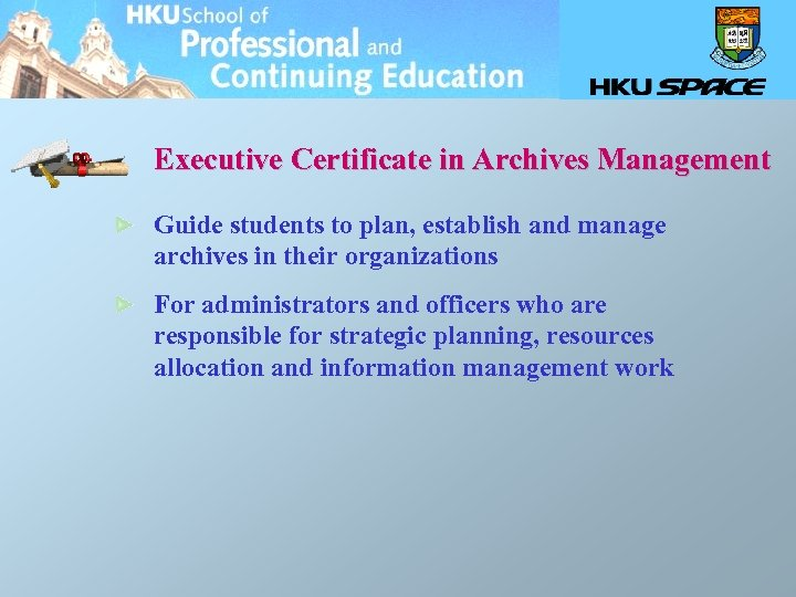 Executive Certificate in Archives Management Guide students to plan, establish and manage archives in