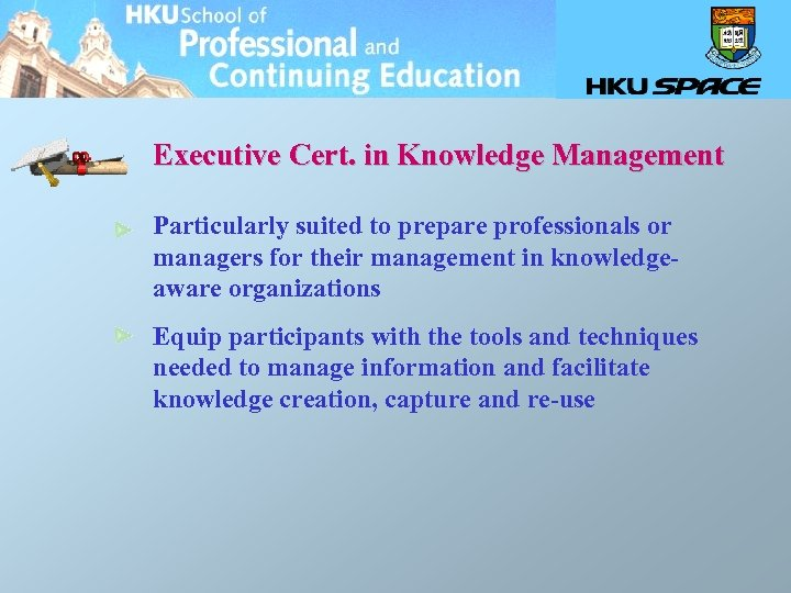 Executive Cert. in Knowledge Management Particularly suited to prepare professionals or managers for their