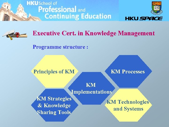 Executive Cert. in Knowledge Management Programme structure : Principles of KM Processes KM Implementations