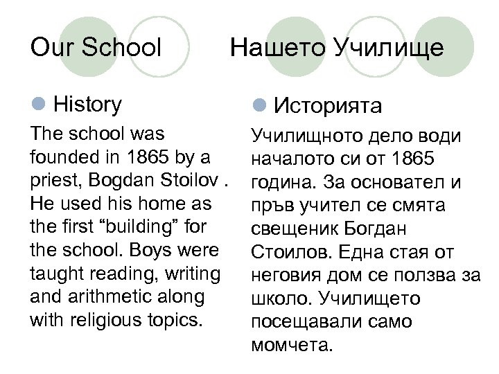 Our School Нашето Училище l History l Историята The school was founded in 1865