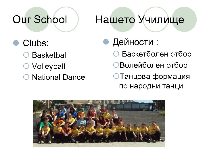 Our School l Clubs: ¡ Basketball ¡ Volleyball ¡ National Dance Нашето Училище l