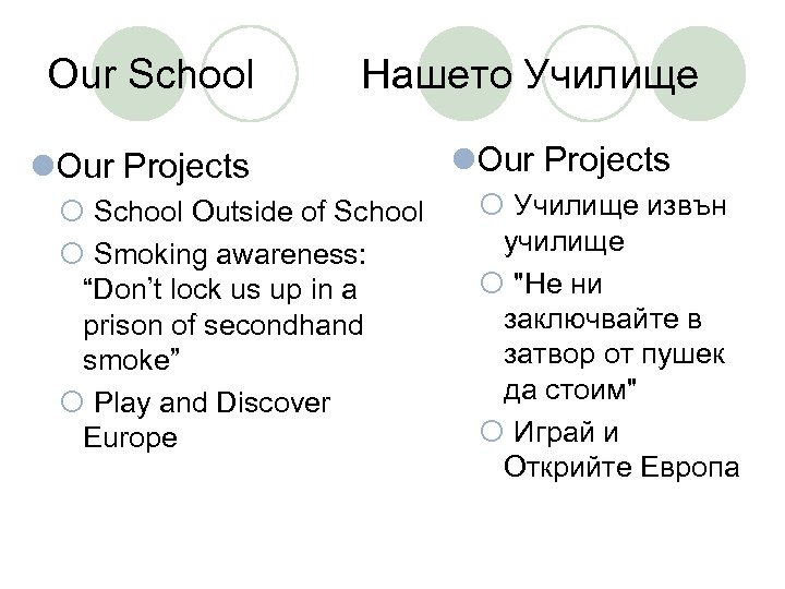 Our School Нашето Училище l. Our Projects ¡ School Outside of School ¡ Smoking