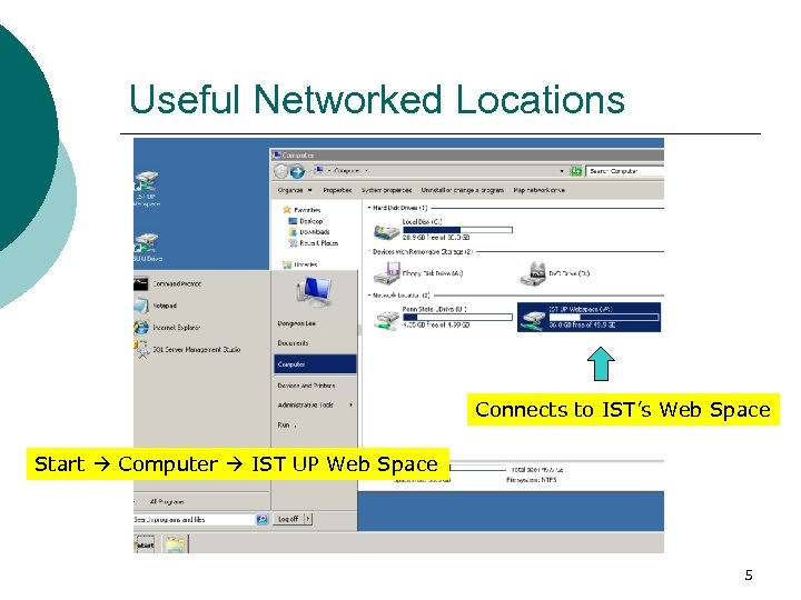 Useful Networked Locations Connects to IST's Web Space Start Computer IST UP Web Space