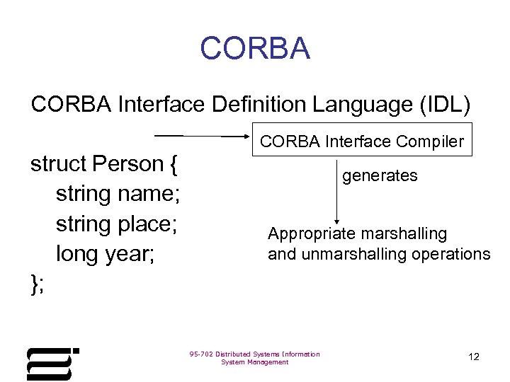 CORBA Interface Definition Language (IDL) CORBA Interface Compiler struct Person { string name; string