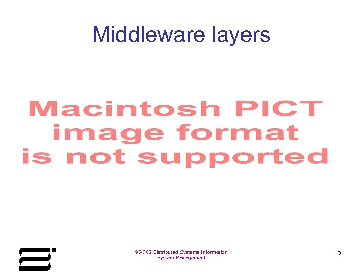 Middleware layers 95 -702 Distributed Systems Information System Management 2