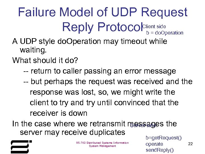 Failure Model of UDP Request side Reply Protocol. Clientdo. Operation b= A UDP style