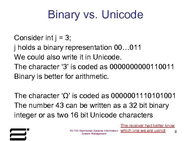Binary vs. Unicode Consider int j = 3; j holds a binary representation 00…