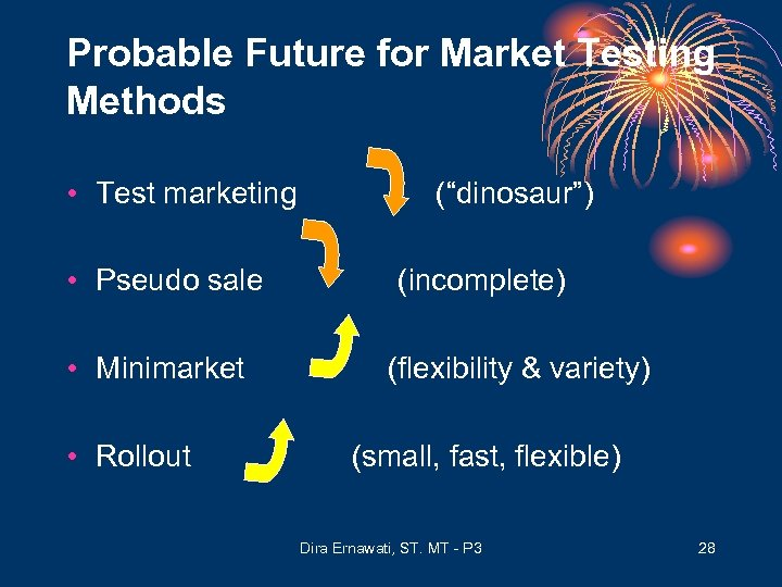 Probable Future for Market Testing Methods • Test marketing • Pseudo sale • Minimarket