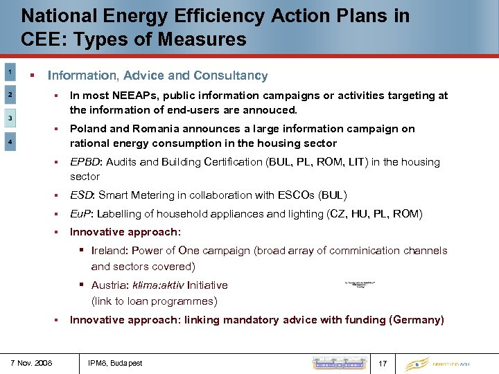 National Energy Efficiency Action Plans in CEE: Types of Measures § Information, Advice and