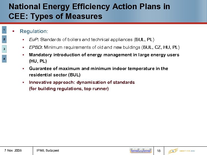 National Energy Efficiency Action Plans in CEE: Types of Measures § Regulation: § §