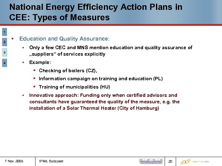 National Energy Efficiency Action Plans in CEE: Types of Measures § Education and Quality