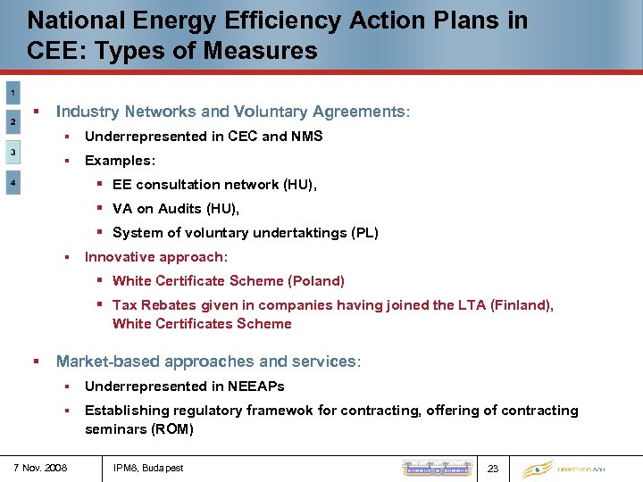 National Energy Efficiency Action Plans in CEE: Types of Measures § Industry Networks and