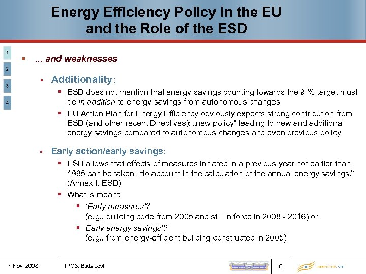 Energy Efficiency Policy in the EU and the Role of the ESD § .