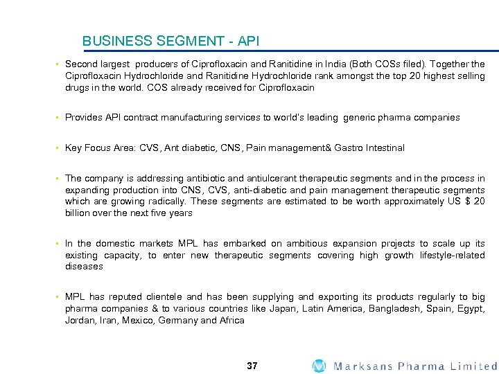 Marksans Pharma Limited Investor Presentation February 2008