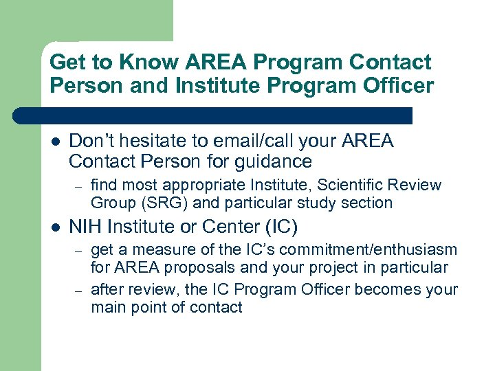 Get to Know AREA Program Contact Person and Institute Program Officer l Don't hesitate