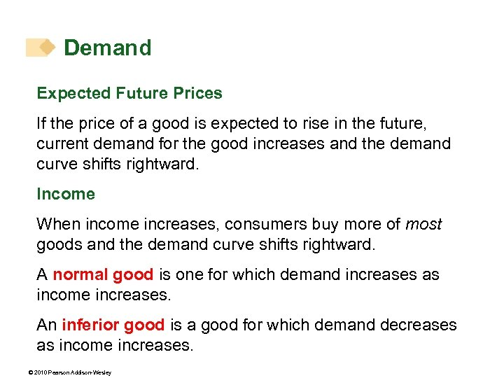 Demand Expected Future Prices If the price of a good is expected to rise