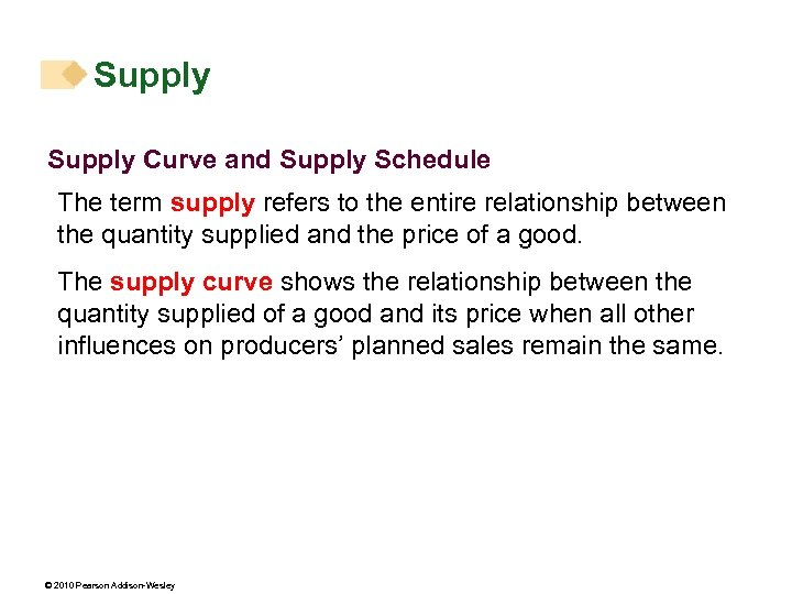 Supply Curve and Supply Schedule The term supply refers to the entire relationship between