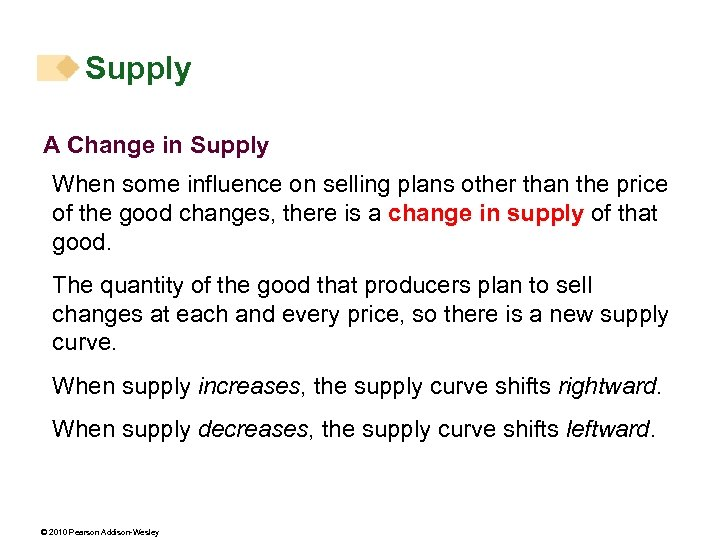 Supply A Change in Supply When some influence on selling plans other than the