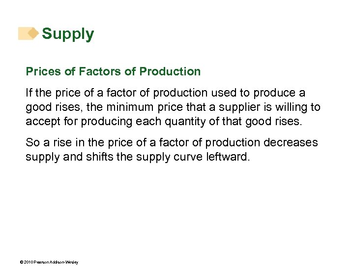 Supply Prices of Factors of Production If the price of a factor of production