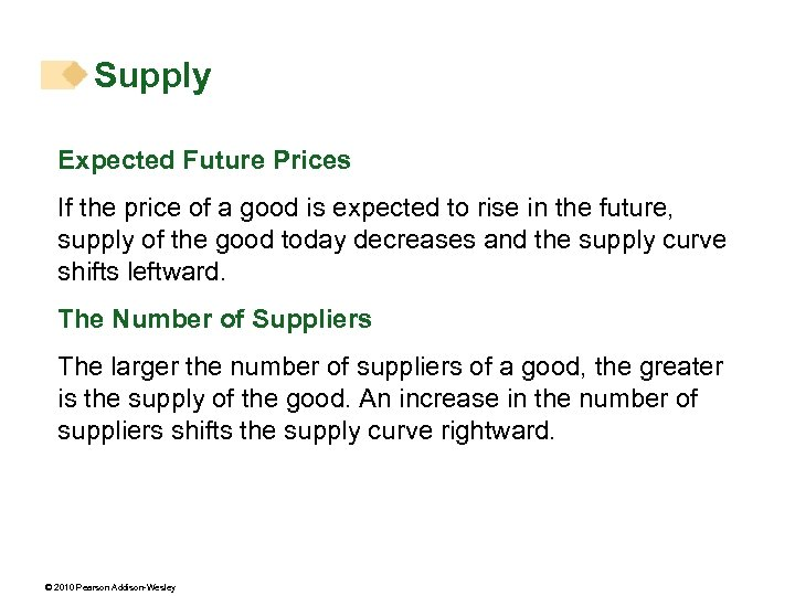 Supply Expected Future Prices If the price of a good is expected to rise