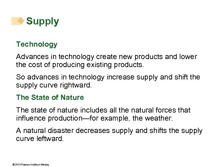 Supply Technology Advances in technology create new products and lower the cost of producing