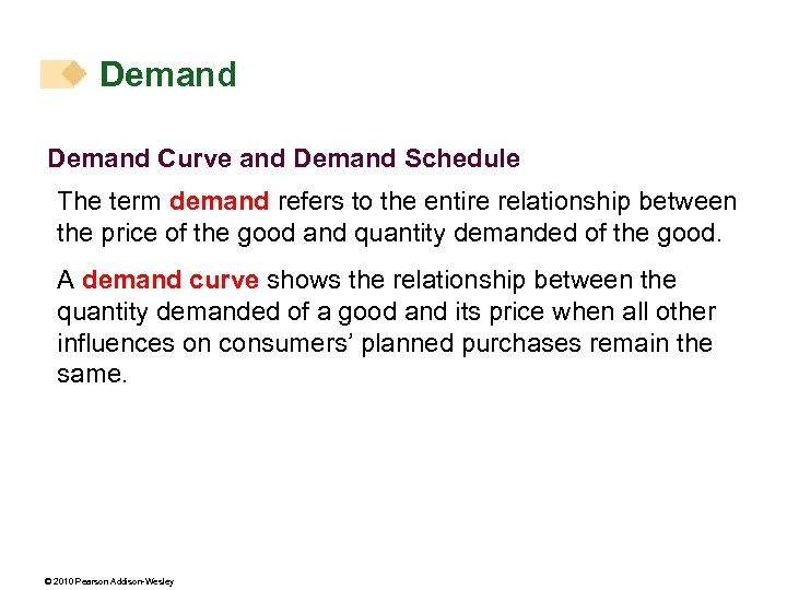 Demand Curve and Demand Schedule The term demand refers to the entire relationship between