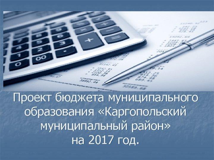 Проект бюджета муниципального образования «Каргопольский муниципальный район» на 2017 год.