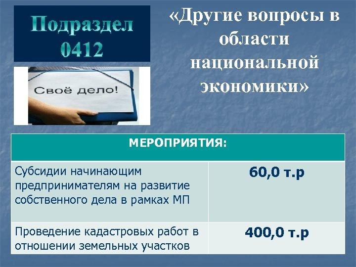 «Другие вопросы в области национальной экономики» МЕРОПРИЯТИЯ: Субсидии начинающим предпринимателям на развитие собственного