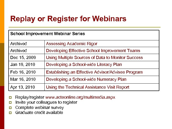 Replay or Register for Webinars School Improvement Webinar Series Archived Assessing Academic Rigor Archived