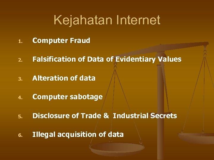 Kejahatan Internet 1. Computer Fraud 2. Falsification of Data of Evidentiary Values 3. Alteration