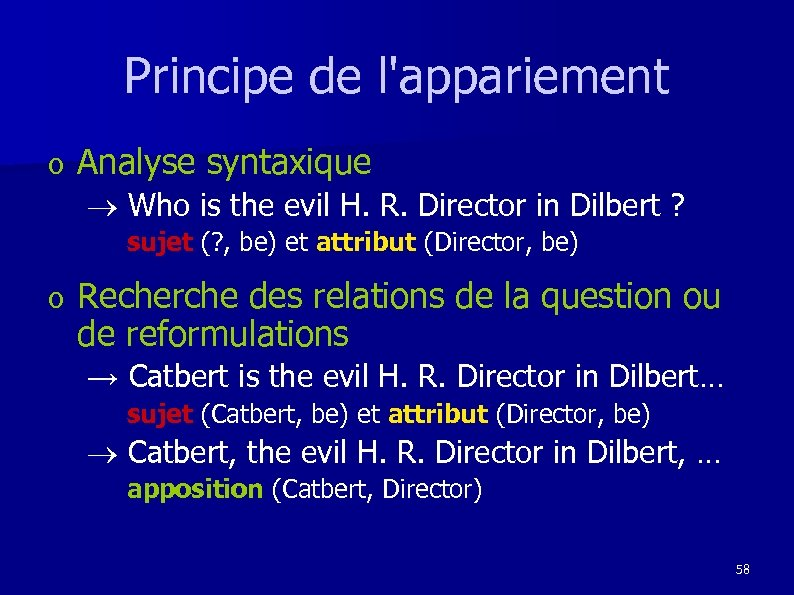 Principe de l'appariement o Analyse syntaxique ® Who is the evil H. R. Director