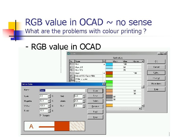 RGB value in OCAD ~ no sense What are the problems with colour printing