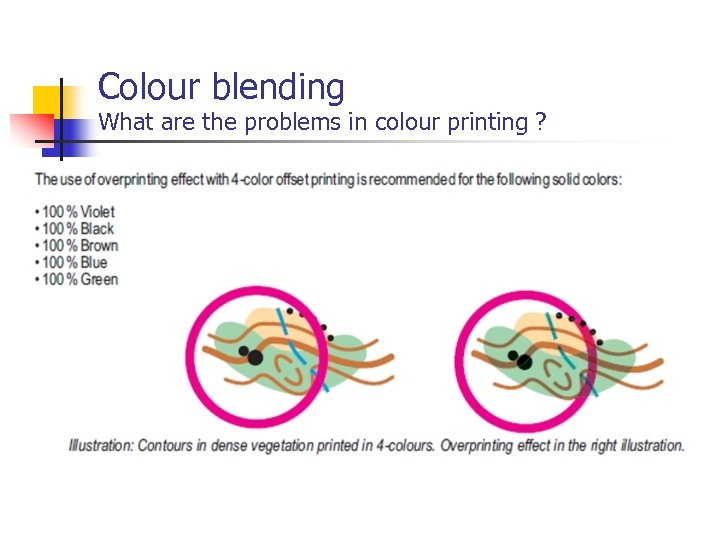 Colour blending What are the problems in colour printing ?