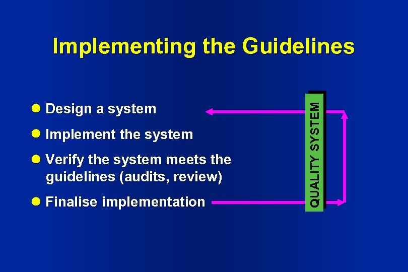 Design a system Implement the system Verify the system meets the guidelines (audits,