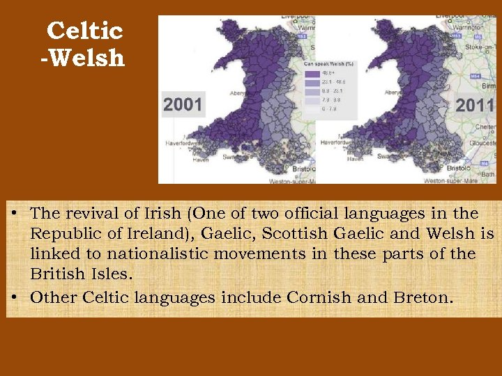 Celtic -Welsh • The revival of Irish (One of two official languages in the