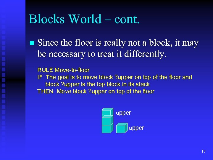 Blocks World – cont. n Since the floor is really not a block, it