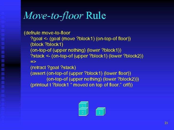 Move-to-floor Rule (defrule move-to-floor ? goal <- (goal (move ? block 1) (on-top-of floor))