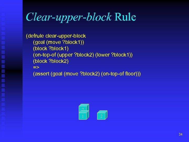 Clear-upper-block Rule (defrule clear-upper-block (goal (move ? block 1)) (block ? block 1) (on-top-of