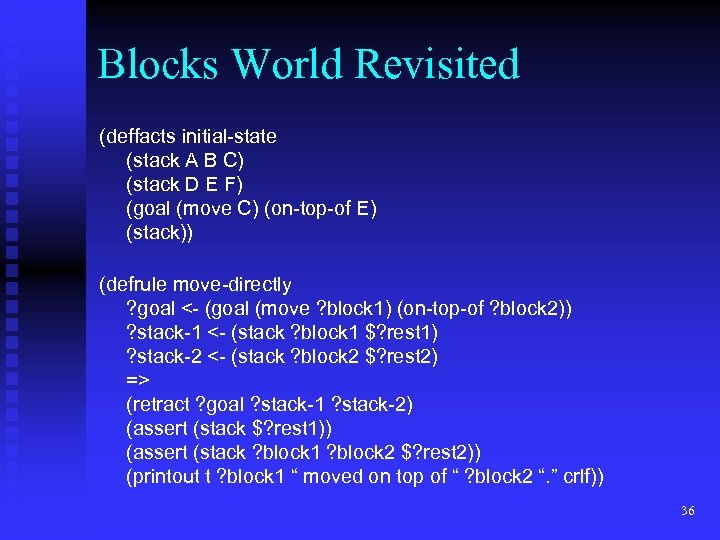 Blocks World Revisited (deffacts initial-state (stack A B C) (stack D E F) (goal