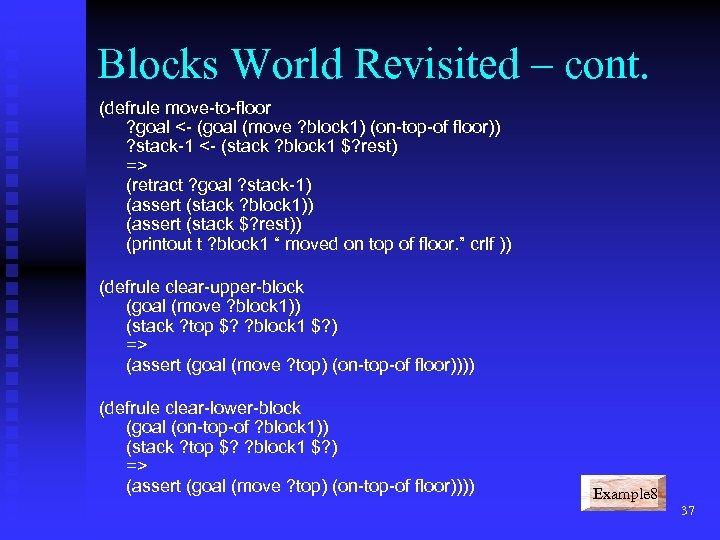 Blocks World Revisited – cont. (defrule move-to-floor ? goal <- (goal (move ? block