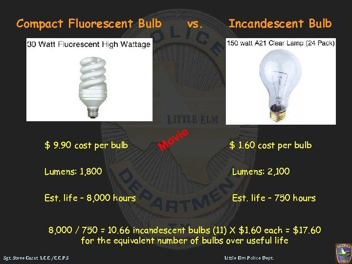 Compact Fluorescent Bulb $ 9. 90 cost per bulb vs. M vie o Incandescent