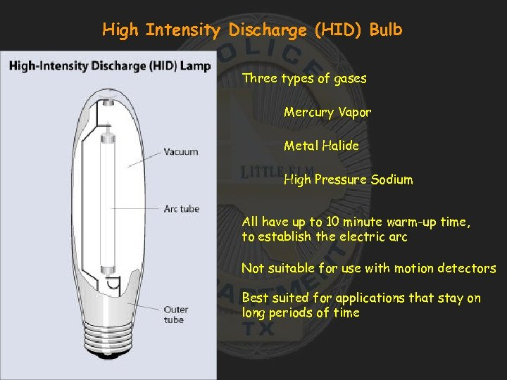 High Intensity Discharge (HID) Bulb Three types of gases Mercury Vapor Metal Halide High