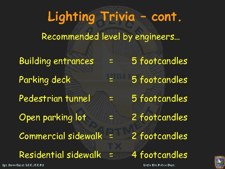 Lighting Trivia – cont. Recommended level by engineers… Building entrances = 5 footcandles Parking