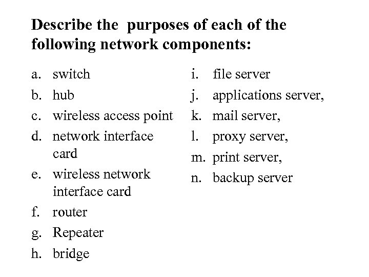 Describe the purposes of each of the following network components: a. b. c. d.