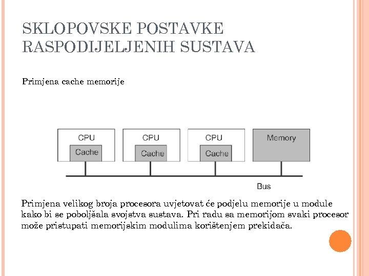 SKLOPOVSKE POSTAVKE RASPODIJELJENIH SUSTAVA Primjena cache memorije Primjena velikog broja procesora uvjetovat će podjelu