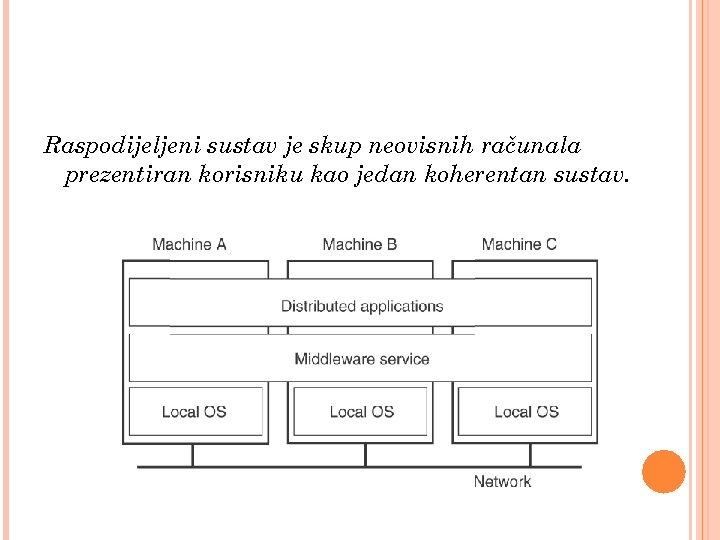 Raspodijeljeni sustav je skup neovisnih računala prezentiran korisniku kao jedan koherentan sustav.