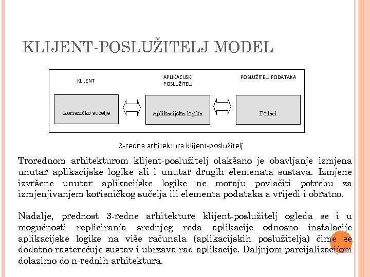 KLIJENT-POSLUŽITELJ MODEL KLIJENT APLIKACIJSKI POSLUŽITELJ PODATAKA Korisničko sučelje Aplikacijska logika Podaci 3 -redna arhitektura
